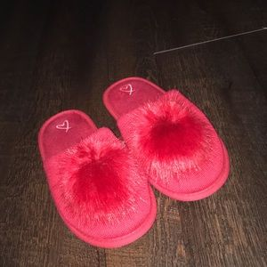 Victoria's Secret fuzzy red slippers Christmas